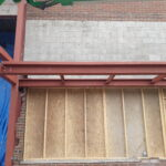 steel canopy at front